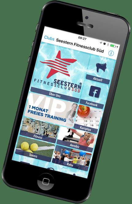 Smartphone mit geöffneter Seeestern Fitnessclub Süd App