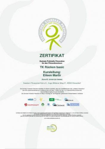 Zertifikat TK Rücken basic - das Allroundtraining für den Rücken beim Seestern Fitnessclub Süd