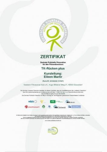 Zertifikat TK Rücken plus - mit integriertem Gerätetraining